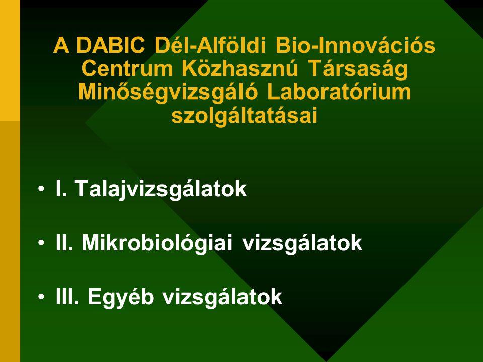 A DABIC Dél-Alföldi Bio-Innovációs Centrum Közhasznú Társaság Minőségvizsgáló Laboratórium szolgáltatásai