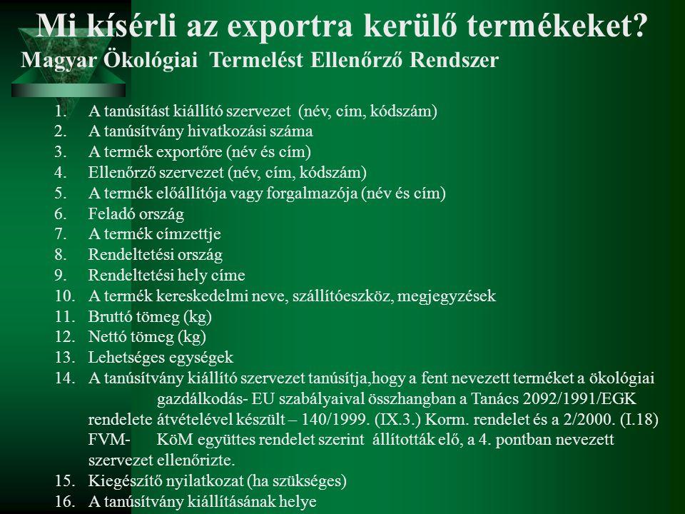 Mi kísérli az exportra kerülő termékeket