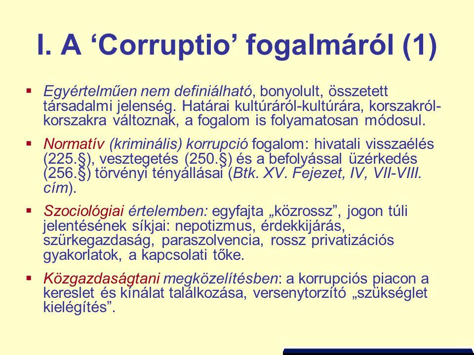 I. A 'Corruptio' fogalmáról (1)