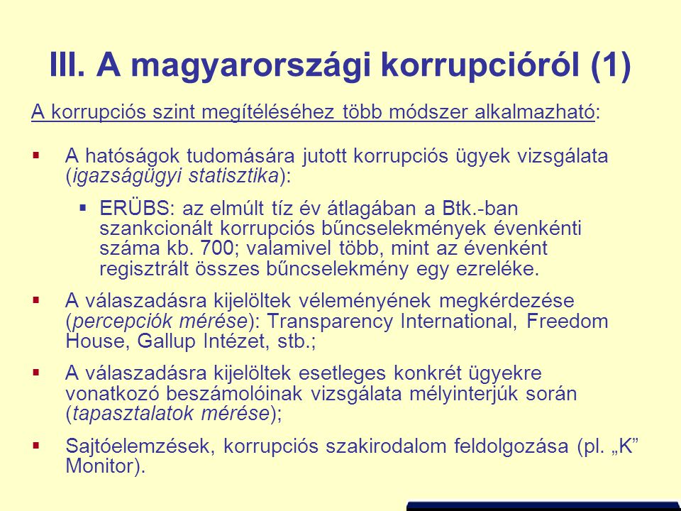 III. A magyarországi korrupcióról (1)