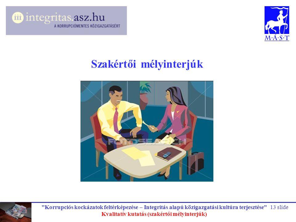 Szakértői mélyinterjúk Kvalitatív kutatás (szakértői mélyinterjúk)