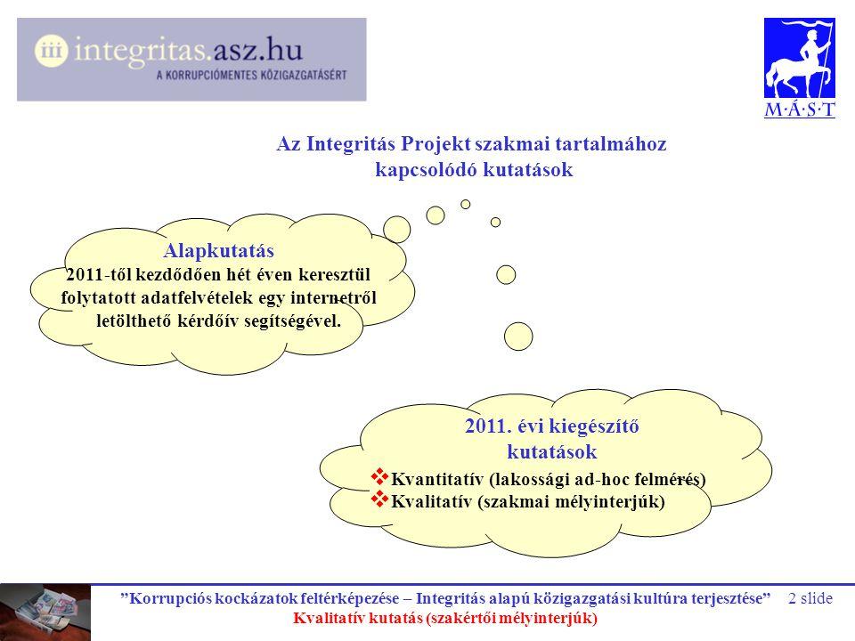 Az Integritás Projekt szakmai tartalmához kapcsolódó kutatások