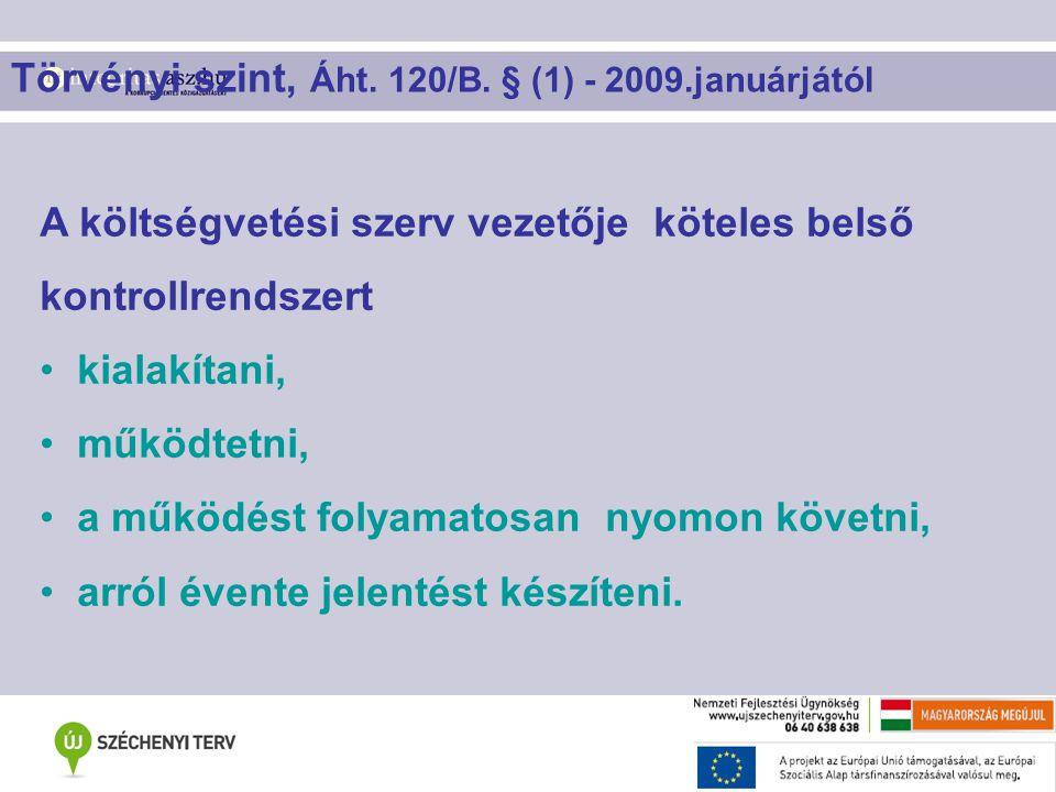 Törvényi szint, Áht. 120/B. § (1) - 2009.januárjától