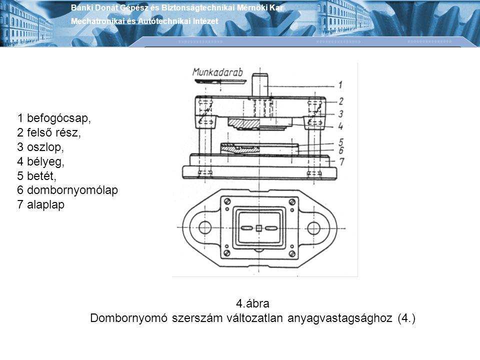 Dombornyomó szerszám változatlan anyagvastagsághoz (4.)
