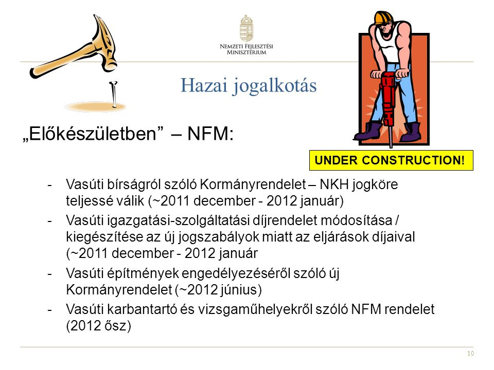 """Hazai jogalkotás """"Előkészületben – NFM:"""
