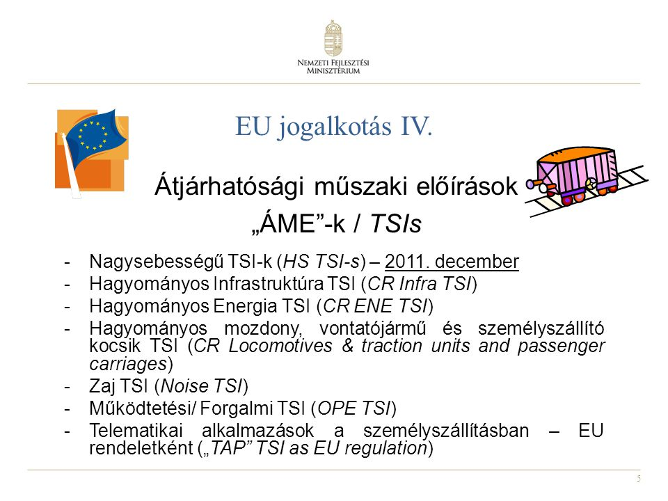 """Átjárhatósági műszaki előírások """"ÁME -k / TSIs"""