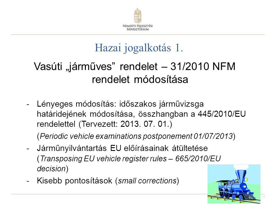 """Vasúti """"járműves rendelet – 31/2010 NFM rendelet módosítása"""