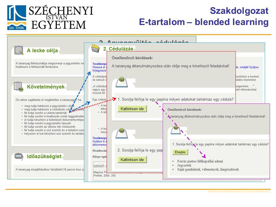 Szakdolgozat E-tartalom – blended learning
