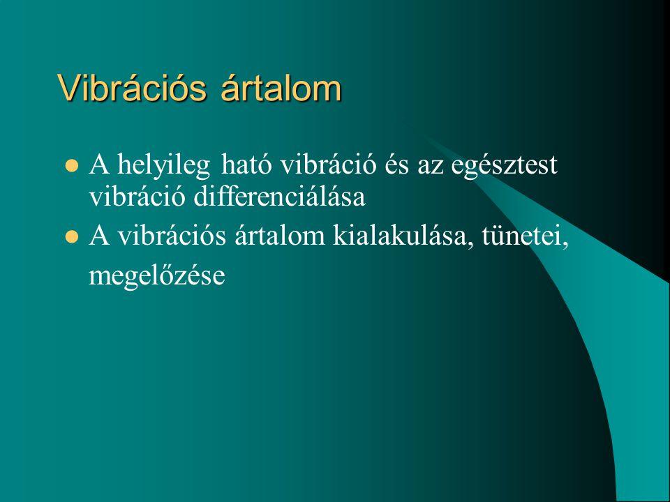 Vibrációs ártalom A helyileg ható vibráció és az egésztest vibráció differenciálása. A vibrációs ártalom kialakulása, tünetei,
