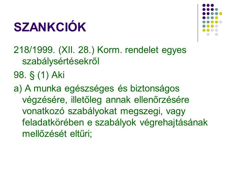 SZANKCIÓK 218/1999. (XII. 28.) Korm. rendelet egyes szabálysértésekről