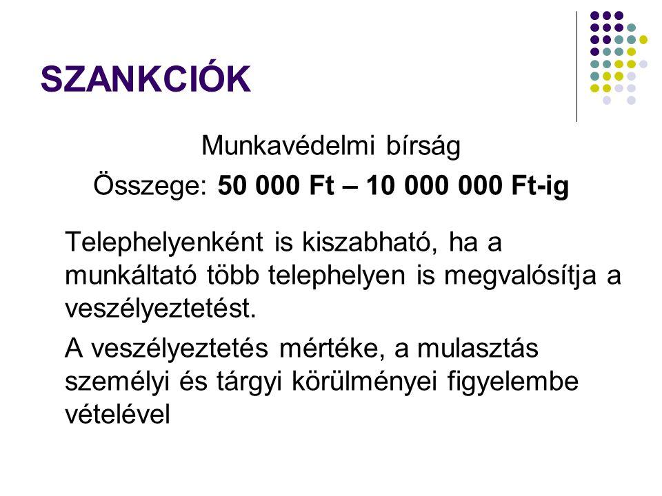 SZANKCIÓK Munkavédelmi bírság Összege: 50 000 Ft – 10 000 000 Ft-ig