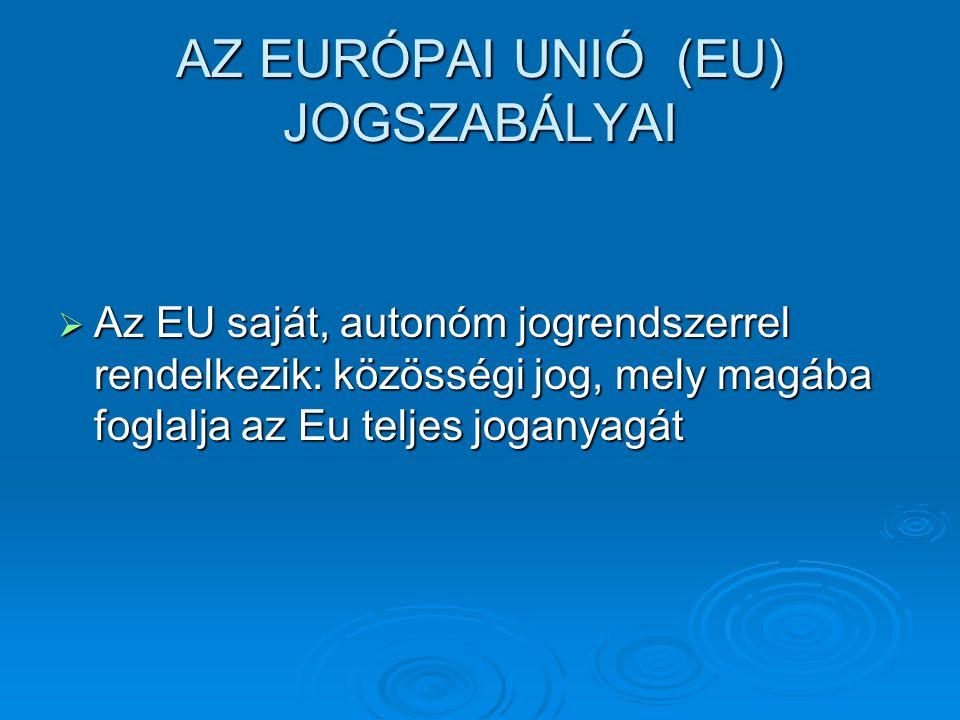AZ EURÓPAI UNIÓ (EU) JOGSZABÁLYAI