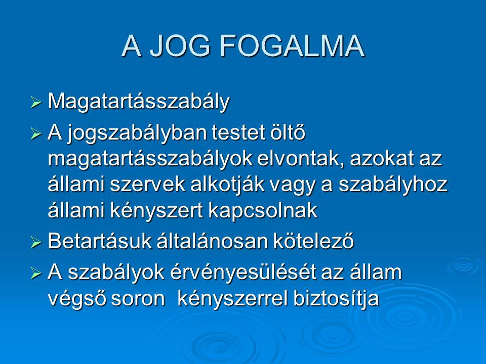 A JOG FOGALMA Magatartásszabály