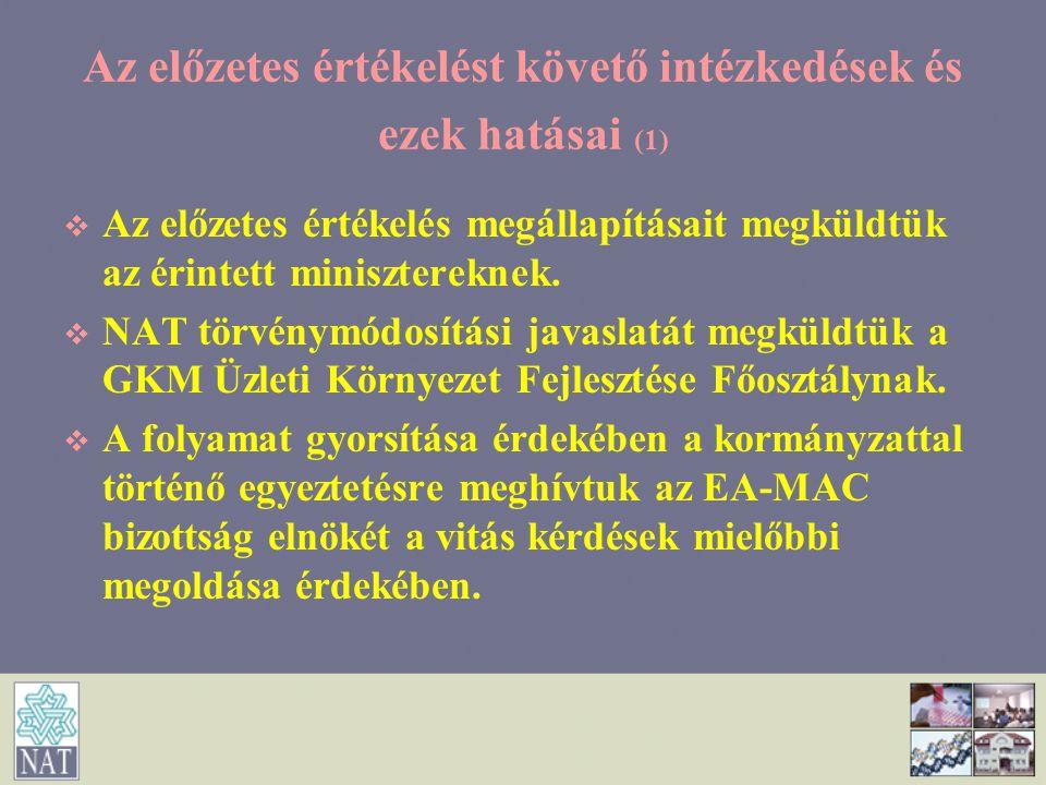 Az előzetes értékelést követő intézkedések és ezek hatásai (1)