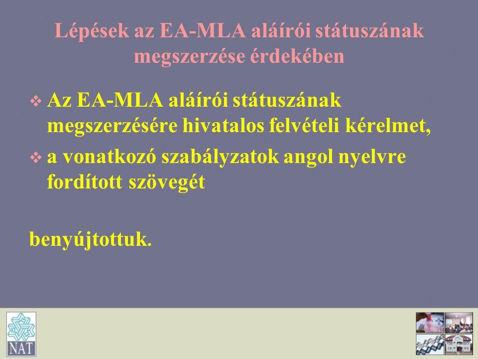 Lépések az EA-MLA aláírói státuszának megszerzése érdekében