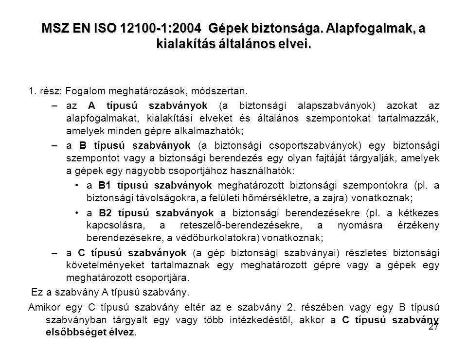 MSZ EN ISO 12100-1:2004 Gépek biztonsága