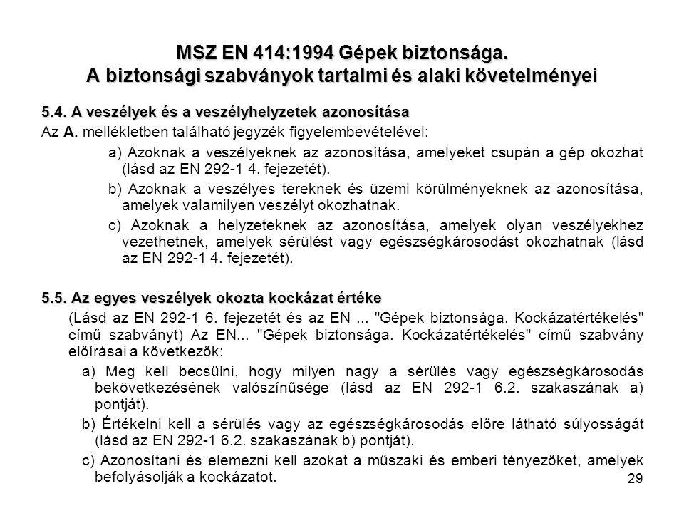 MSZ EN 414:1994 Gépek biztonsága