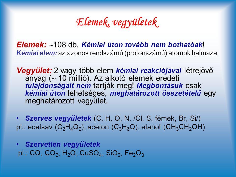 Elemek, vegyületek Elemek: 108 db. Kémiai úton tovább nem bothatóak!