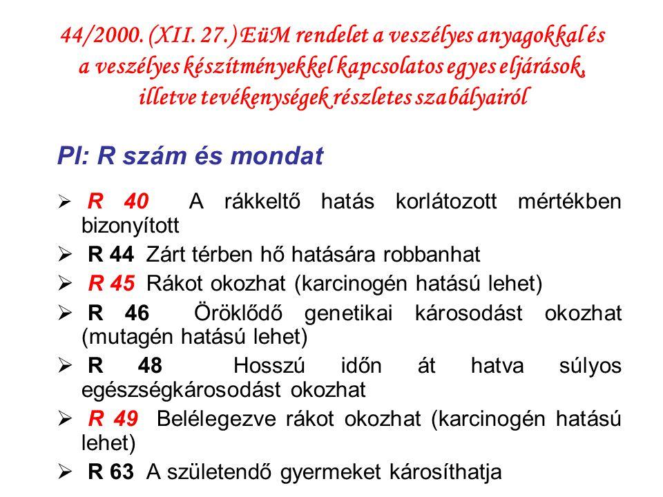 44/2000. (XII. 27.) EüM rendelet a veszélyes anyagokkal és a veszélyes készítményekkel kapcsolatos egyes eljárások, illetve tevékenységek részletes szabályairól