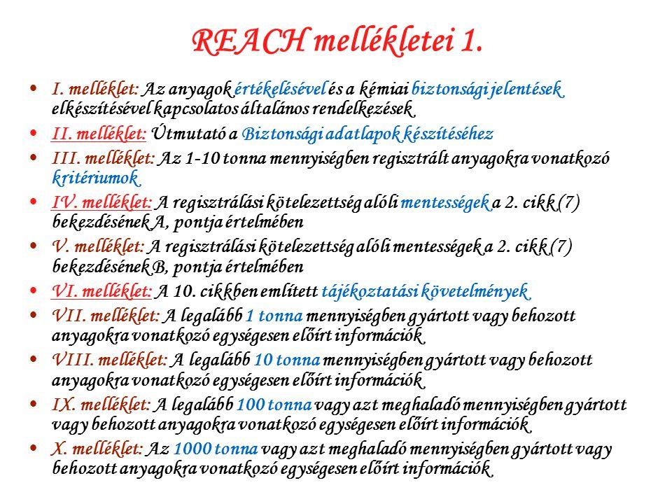 REACH mellékletei 1. I. melléklet: Az anyagok értékelésével és a kémiai biztonsági jelentések elkészítésével kapcsolatos általános rendelkezések.