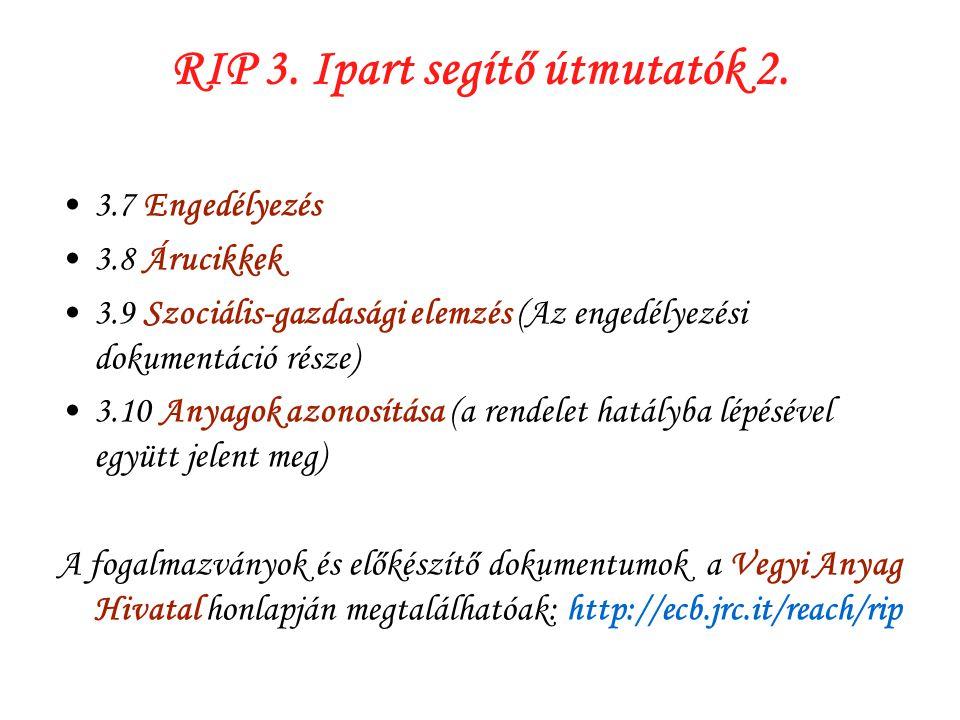 RIP 3. Ipart segítő útmutatók 2.