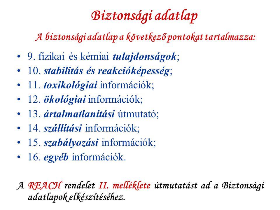 Biztonsági adatlap A biztonsági adatlap a következő pontokat tartalmazza: