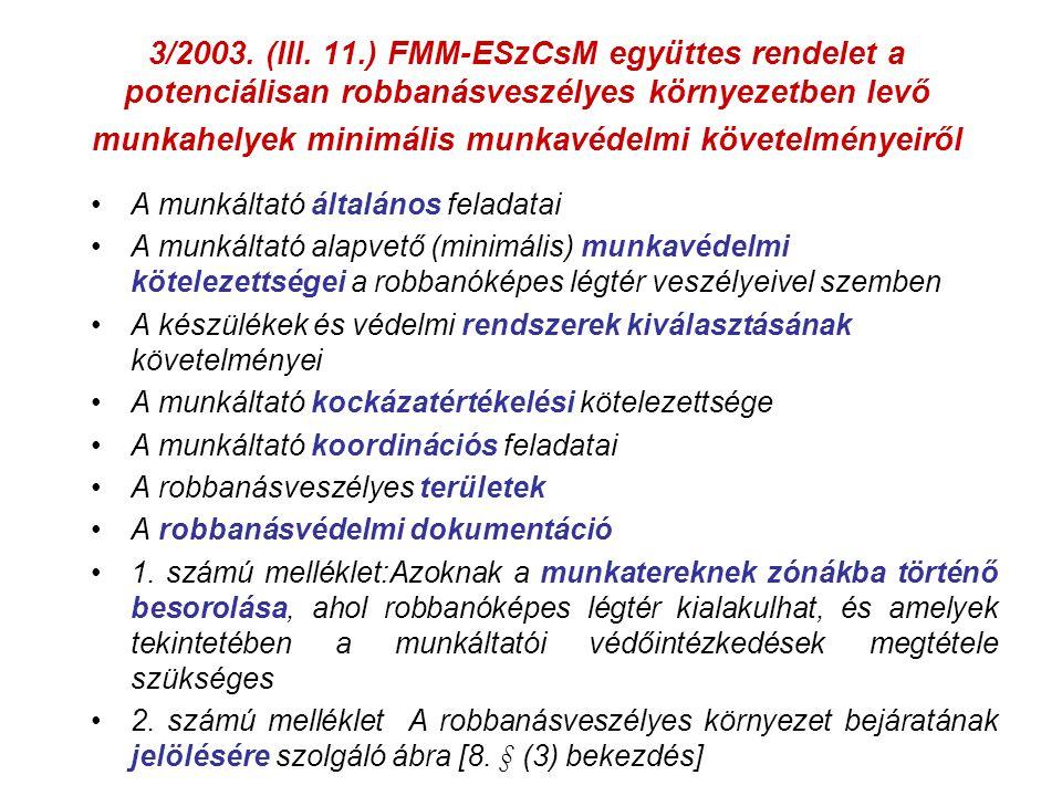 3/2003. (III. 11.) FMM-ESzCsM együttes rendelet a potenciálisan robbanásveszélyes környezetben levő munkahelyek minimális munkavédelmi követelményeiről