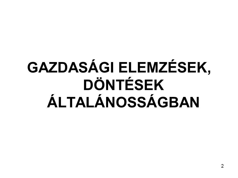 GAZDASÁGI ELEMZÉSEK, DÖNTÉSEK ÁLTALÁNOSSÁGBAN