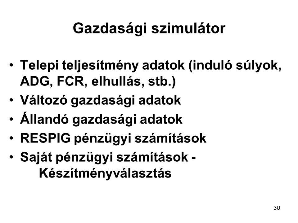Gazdasági szimulátor Telepi teljesítmény adatok (induló súlyok, ADG, FCR, elhullás, stb.) Változó gazdasági adatok.