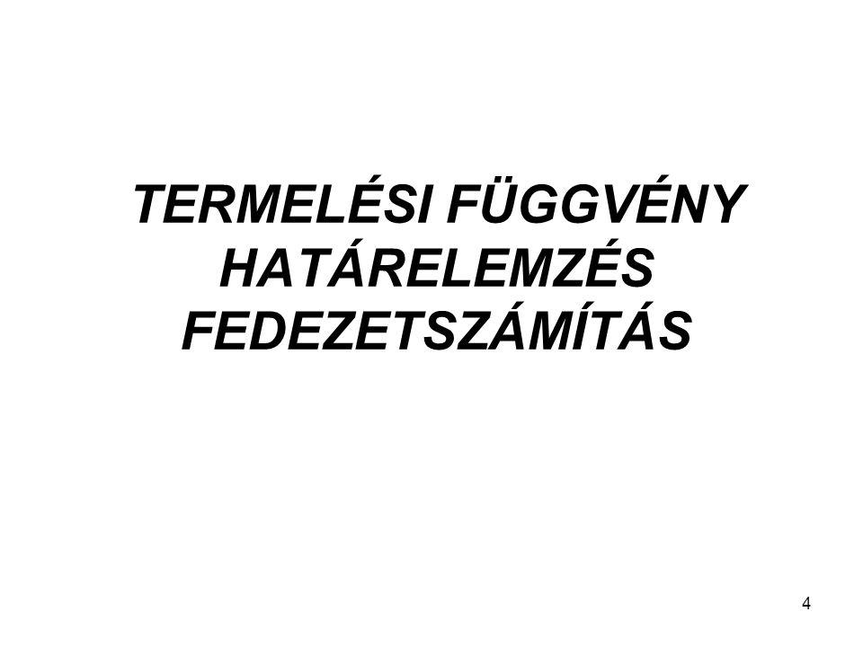 TERMELÉSI FÜGGVÉNY HATÁRELEMZÉS FEDEZETSZÁMÍTÁS