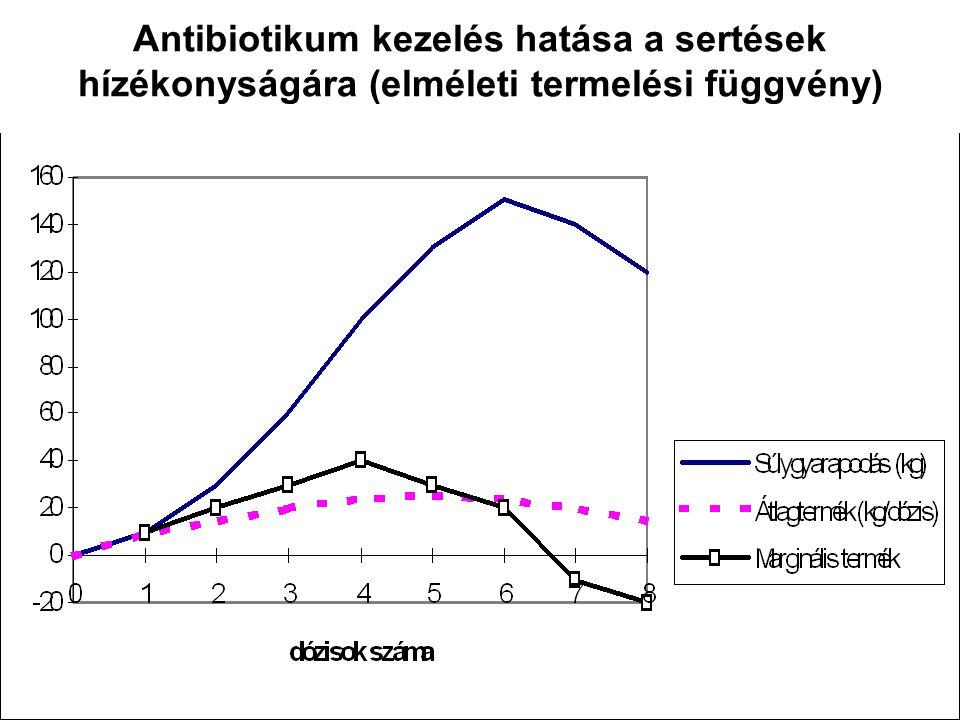 Antibiotikum kezelés hatása a sertések hízékonyságára (elméleti termelési függvény)