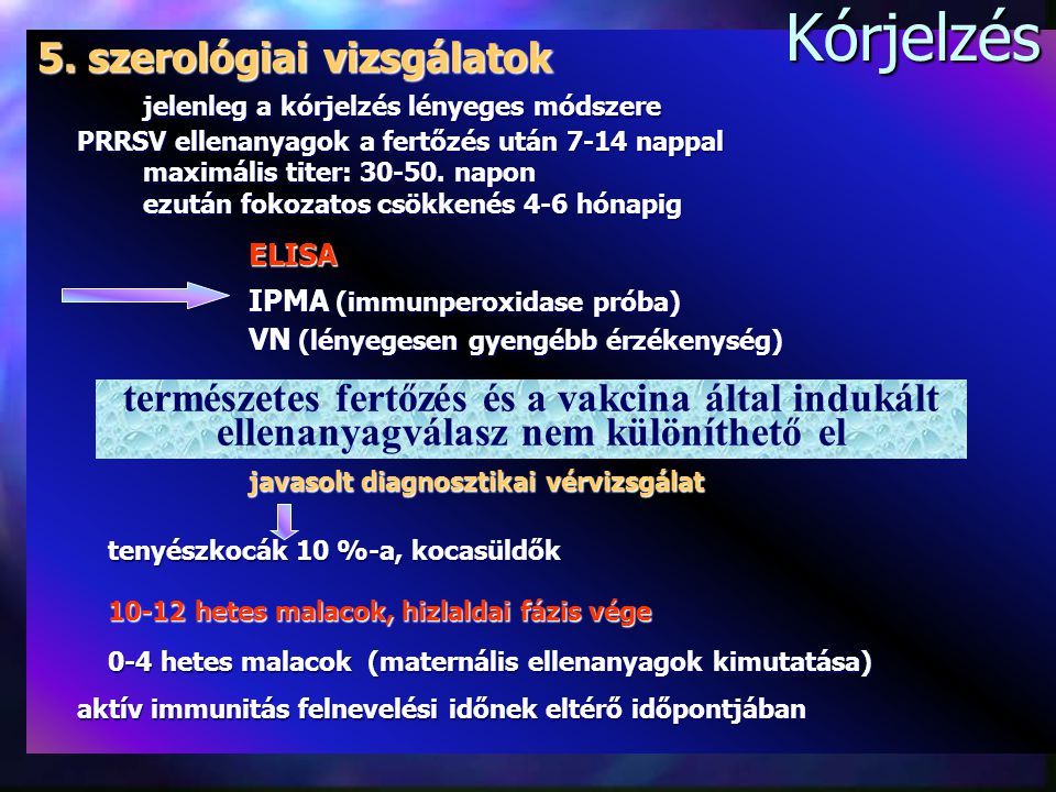 Kórjelzés 5. szerológiai vizsgálatok