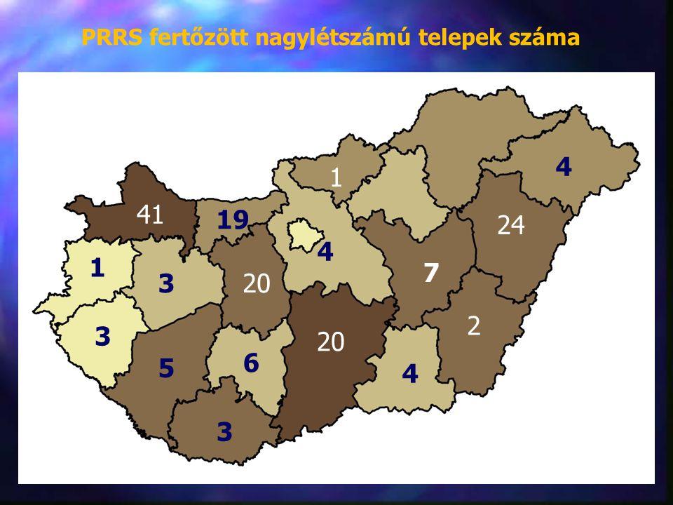 PRRS fertőzött nagylétszámú telepek száma