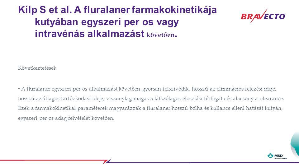 Kilp S et al. A fluralaner farmakokinetikája kutyában egyszeri per os vagy intravénás alkalmazást követően.
