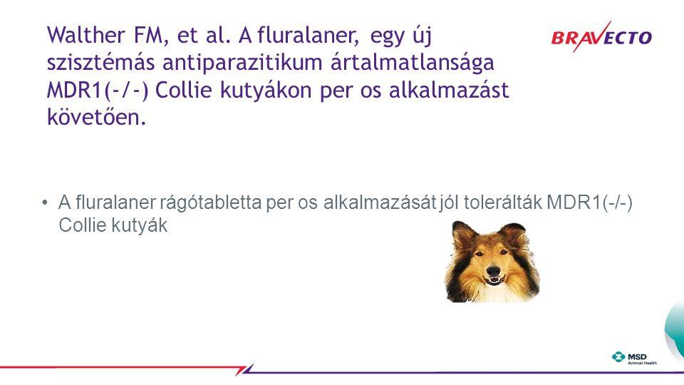 Walther FM, et al. A fluralaner, egy új szisztémás antiparazitikum ártalmatlansága MDR1(-/-) Collie kutyákon per os alkalmazást követően.