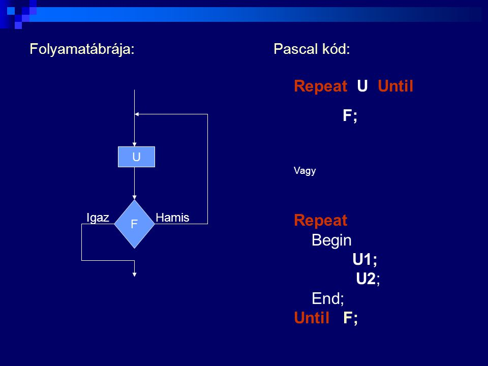 Repeat U Until F; Repeat Begin U1; U2; End; Until F;