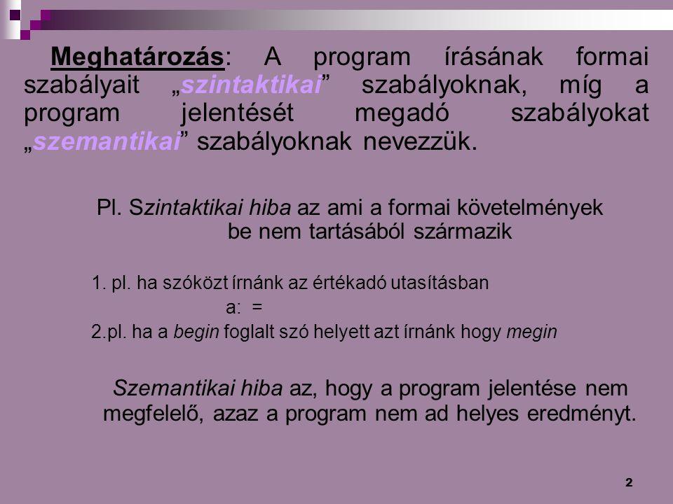 """Meghatározás: A program írásának formai szabályait """"szintaktikai szabályoknak, míg a program jelentését megadó szabályokat """"szemantikai szabályoknak nevezzük."""