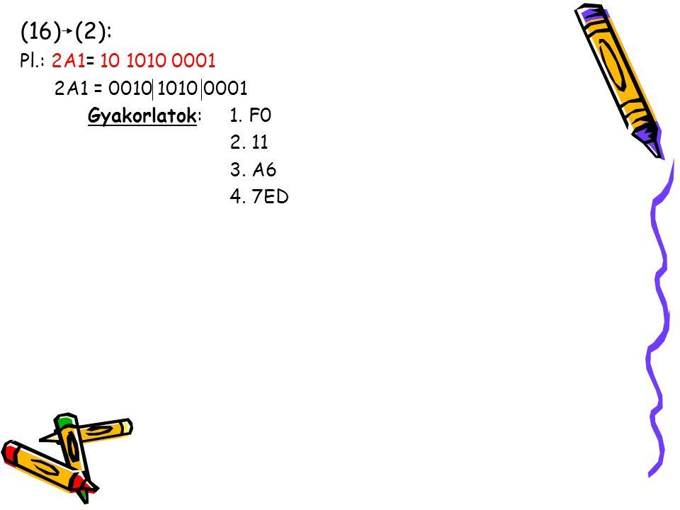 (16) (2): Pl.: 2A1= 10 1010 0001 2A1 = 0010 1010 0001 Gyakorlatok: 1. F0 2. 11 3. A6 4. 7ED