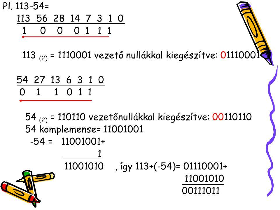 Pl. 113-54= 113 56 28 14 7 3 1 0. 1 0 0 0 1 1 1. 113 (2) = 1110001 vezető nullákkal kiegészítve: 01110001.