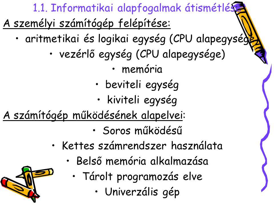 1.1. Informatikai alapfogalmak átismétlése