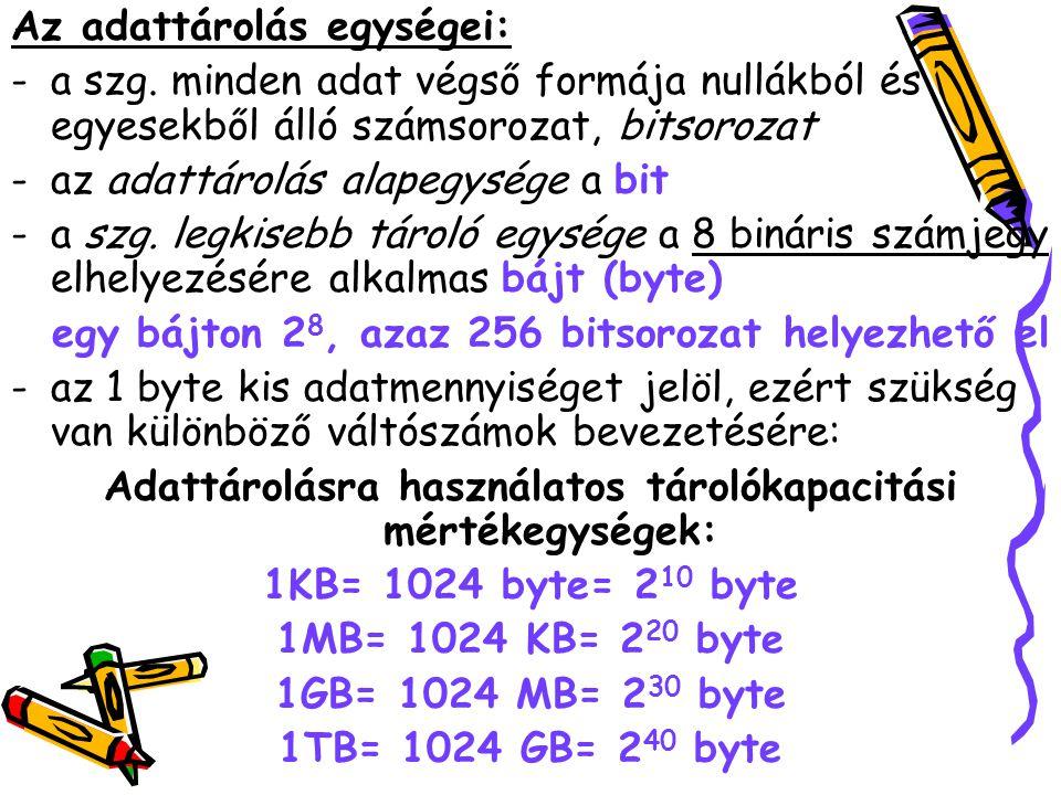 Az adattárolás egységei:
