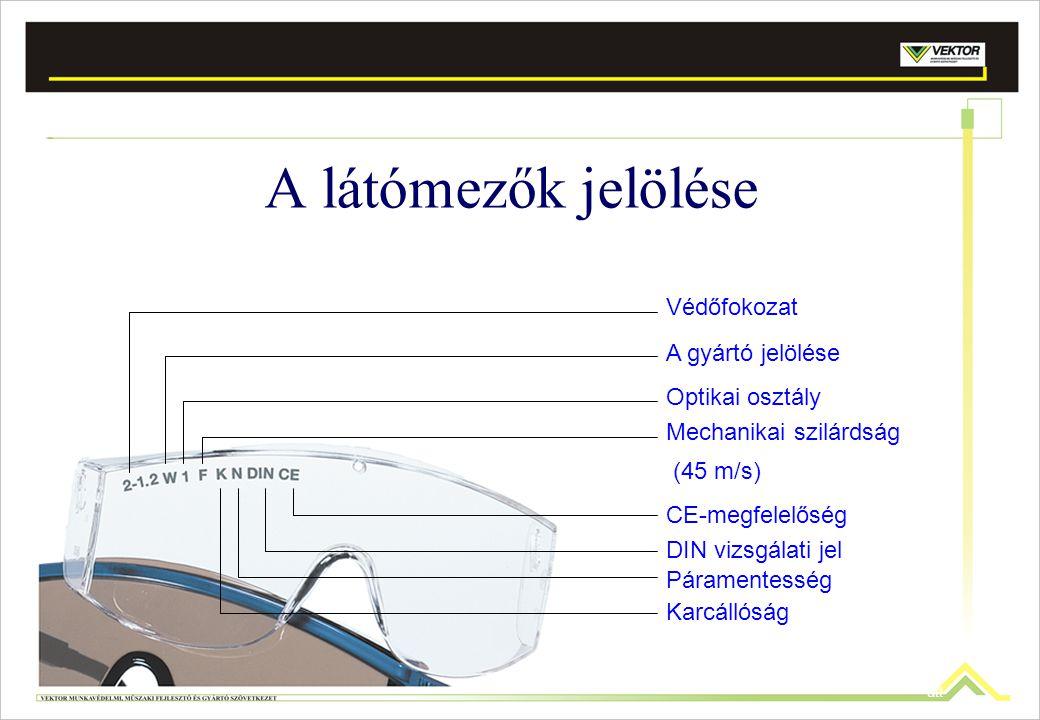 A látómezők jelölése Védőfokozat A gyártó jelölése Optikai osztály