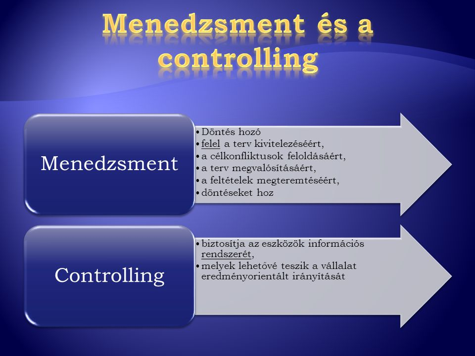 Menedzsment és a controlling