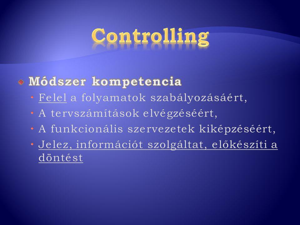 Controlling Módszer kompetencia Felel a folyamatok szabályozásáért,