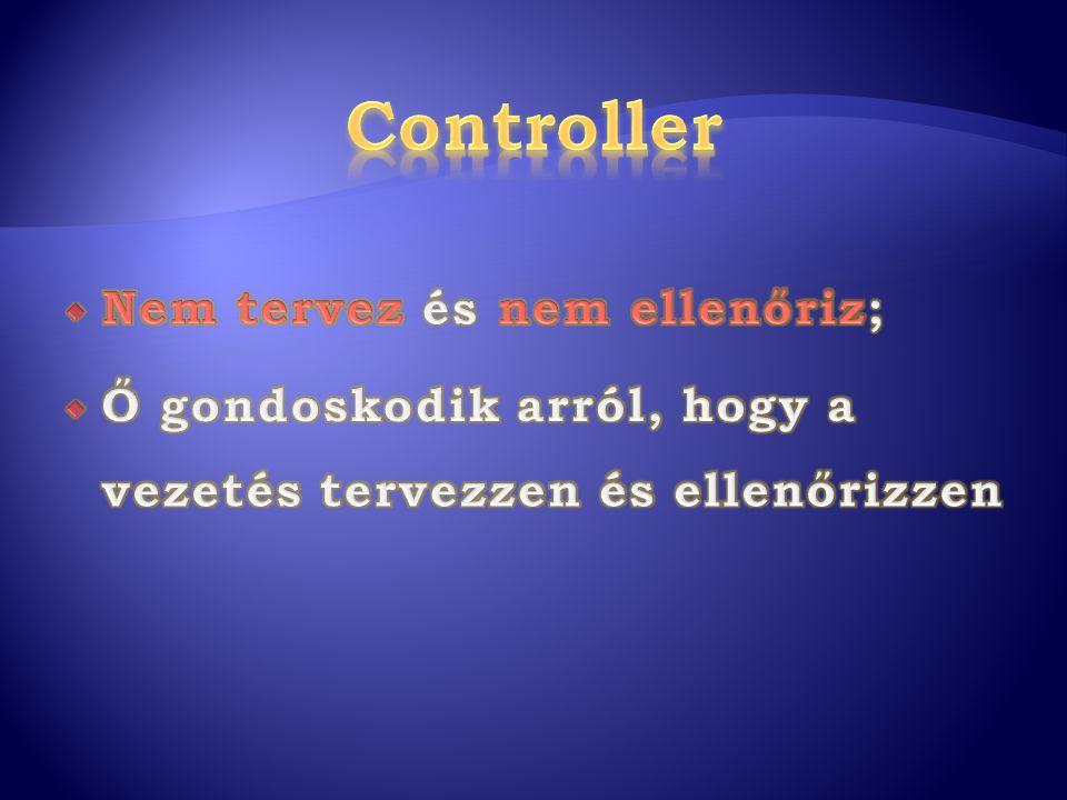 Controller Nem tervez és nem ellenőriz;
