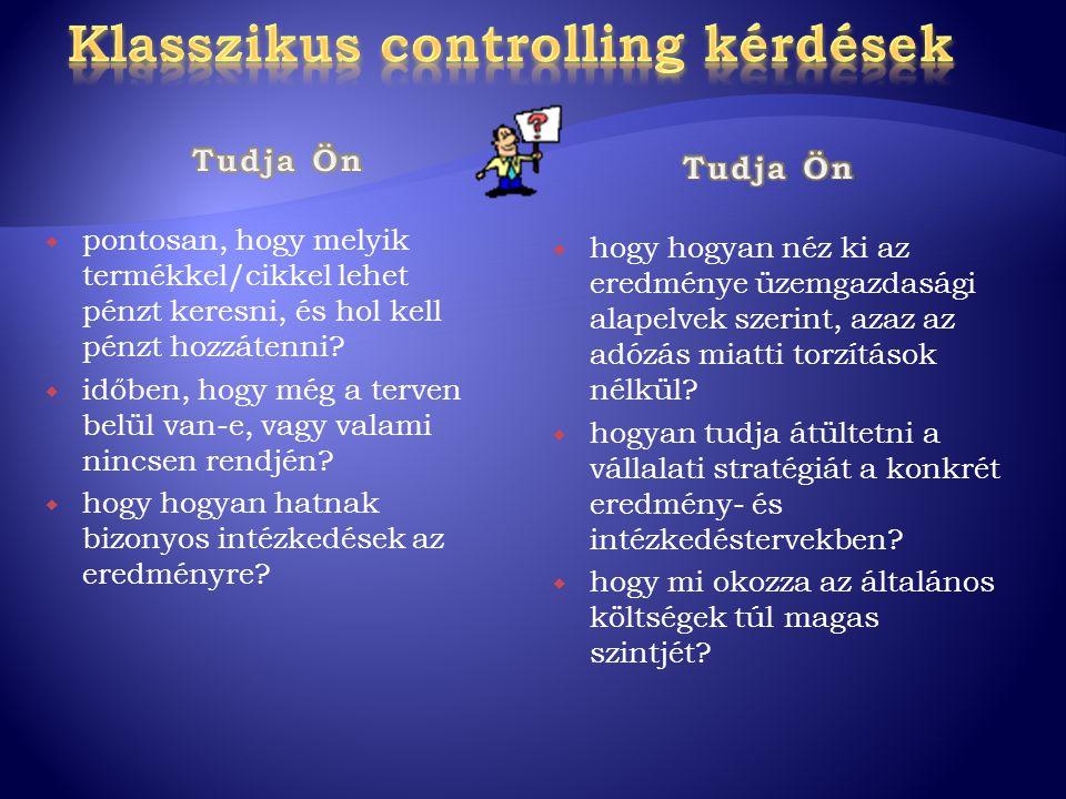 Klasszikus controlling kérdések