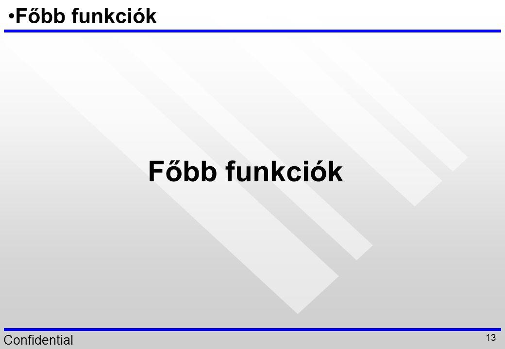 Főbb funkciók Főbb funkciók