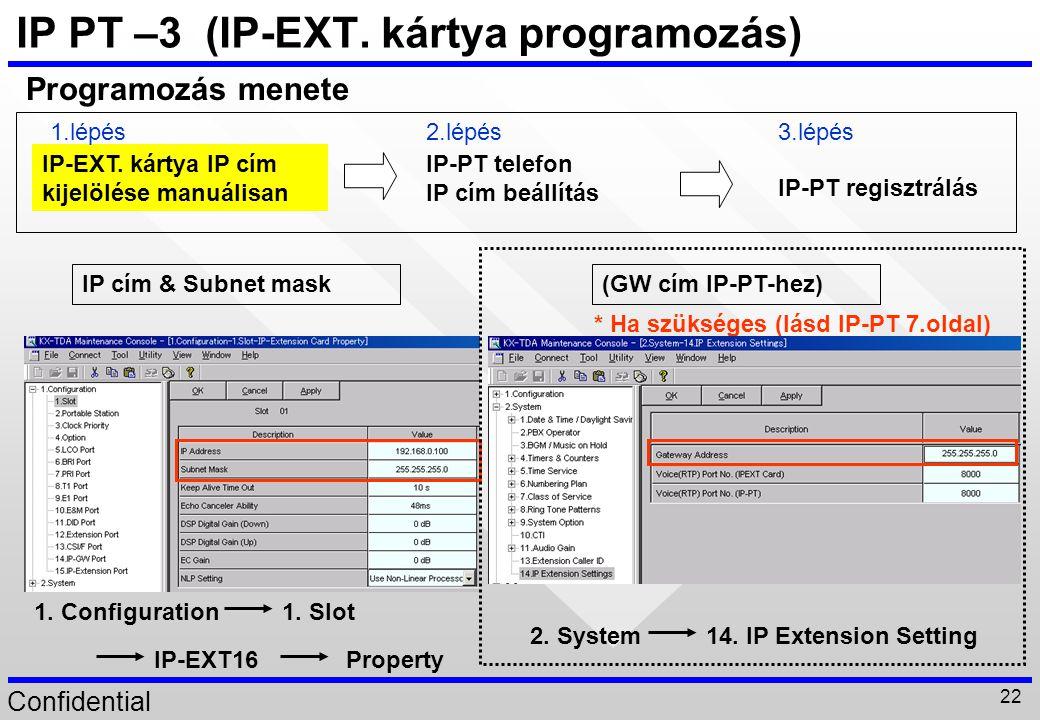 IP PT –3 (IP-EXT. kártya programozás)