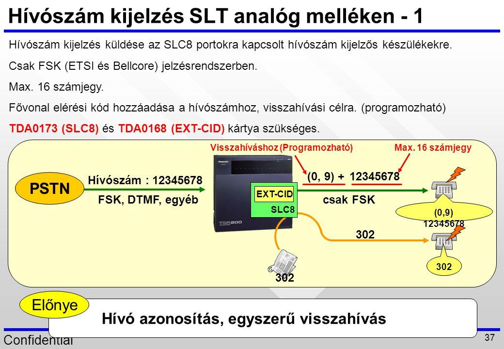 Hívószám kijelzés SLT analóg melléken - 1