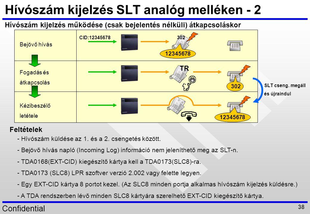 Hívószám kijelzés SLT analóg melléken - 2